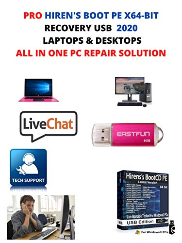 Hiren's Boot USB PE x64 bit Software Repair Tools Suite 2020 latest version 16.3 Best PC Computer Repair Recovery Windows 7,8, 8.1 and10 Free Live Over The Phone Tech Support.