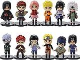 IWBI 12PCS Naruto Sasuke Figurine Pop Set de Petites Figurines Jouet D'échecs À Collectionner Gaara Akatsuki Version Modèle