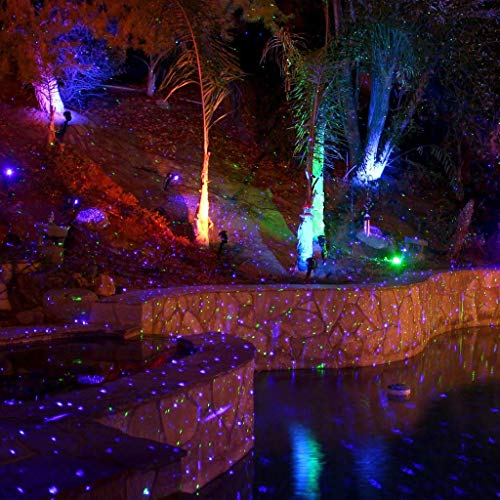 BlissLights Blue Laser Projector w/ 16 Color LED - Indoor/Outdoor Home Landscaping Lights for Holidays, Events, Parties