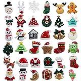 TATAFUN 36 Piezas Mini Adornos Navideños de Resina Papá Noel, Árbol de Navidad, Muñeco de Nieve, Sonajero, Miniaturas de Navidad para Regalo, Parcela, Tarjetas de Felicitación