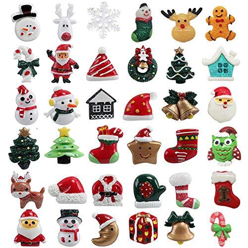 TATAFUN 36 Pz di Mini Decorazione Natalizia Resina Natale Abbellimenti DIY Artigianato di Natale Babbo Natale, Albero di Natale, Pupazzo di Neve, Decorazioni di Regalo, Calzini Natalizi