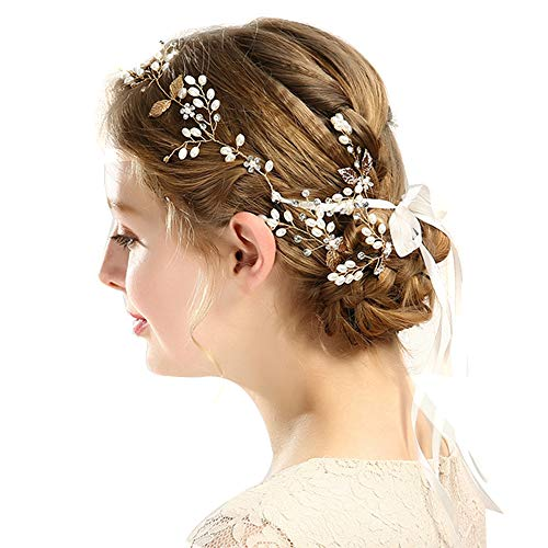 Xinlie Haardraht Hochzeit Lang Brautschmuck Haare mit Perlen Kristall Haarschmuck Vintage Braut Kopfschmuck Hochzeit Haarband Braut Tiara (42cm)
