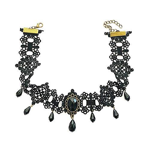 Collier ras du cou en dentelle noire style gothique rétro pour femme
