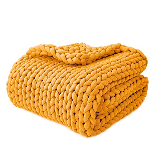 YnM Knitted Weighted Blanket, Hand Made Chunky Knit Weighted Throw Blanket for Sleep, Stress or Home Décor, Rest and Relax in Style with YnM's Handmade Weighted Blankets (Yellow, 50''x60'' 10lbs)