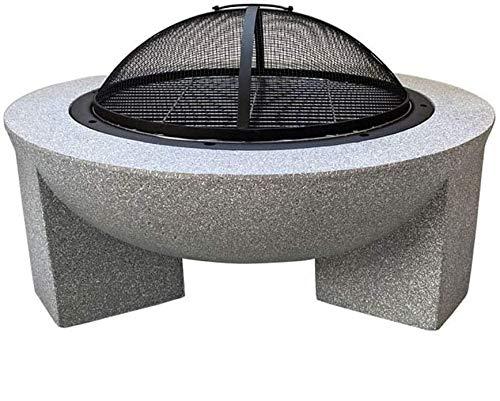 AJH Brasero de leña de hormigón Redondo al Aire Libre con Parrilla de carbón Jardín Camping Poker Brasero 3 en 1 Calentador de terraza de jardín Brasero