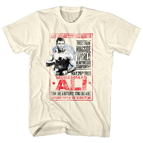 Stab & wound Muhammad Ali T-shirt Adult 1965 Poster Dirty White Tee