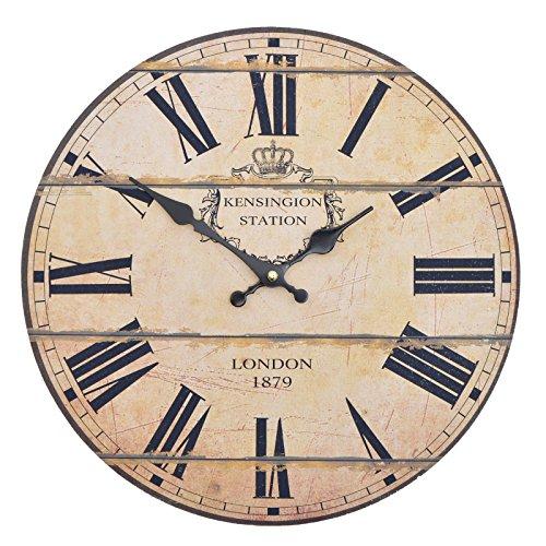 Reloj de cocina de madera con un gran reloj de MDF, reloj retro diseño tendencia Shabby Chic con movimiento silencioso cuarzo, diámetro: 32cm