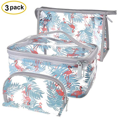 Sariok Clear Toiletry Bag PVC Travel Holiday Cosmetic Bag Flamingo Ice Cream Transparent Makeup Bags With Handle See Through Plastic Clear Case, Different Size 3 Pieces