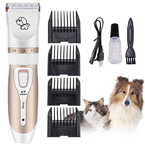 Cortapelos Para Perros, Cortapelos Perros Gatos,Maquinillas para higiene para gatos,Cortapelos Para Mascotas Perros y Gatos,Cortadora de pelo profesional recargable de bajo ruido para mascotas