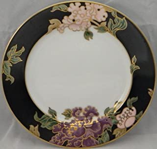 Fitz & Floyd Cloisonne Peony-Black Bread & Butter Plate
