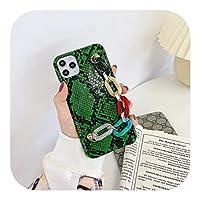 Rzuug レトロリストストラップスネークスキンレザーケースiphone11 11Pro X Xs max SE XR 7 8Plusラグジュアリーレザーケースフォンホルダーケース-B-For iphone 8