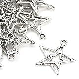 Paquet 20 x Argent Antique Tibétain 23mm Breloques Pendentif (Étoile) - (ZX00145) - Charming Beads