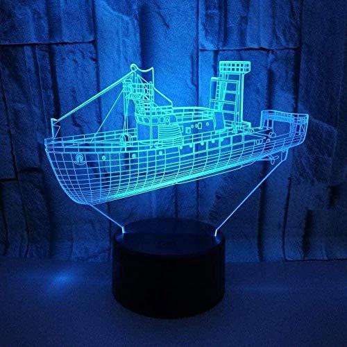 LED3D Phantom Light LED Night Light Sailing Boat 7 Color Variations USB Table Desk Decoration Home Decoration Friends Kids Gifts