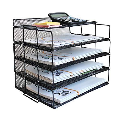 LUCYCAZ Letter Tray, 4 Tier Stackable Paper Tray File Organizer for Desk, Black Metal Mesh Document Organizer for School Office