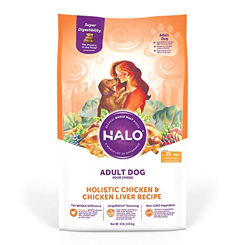 Halo Natural Dry Dog Food - Premium and Holistic Whole Meat Chicken & Chicken Liver Recipe - 4 Pound Bag - Sustainably Sourced Adult Dry Dog Food - Non-GMO, Highly Digestible, and Made in the USA