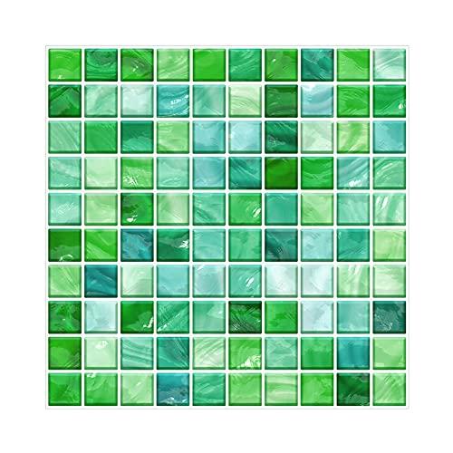 CONPEHRON Vinilos Cocina Azulejos, Mosaico Papel Adhesivo para Azulejos Cocina 20X20cm Impermeable Autoadhesivo Papel Pintado para Baño,10 Hojas