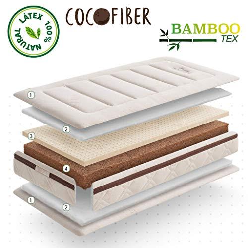 Minky Mooh Natur Matratze für Babybett & Kinderbett - Babymatratze mit Kokos Kern, Naturlatex & Bambusbezug für den perfekten Baby Schlafkomfort (60 x 120 x 13cm)