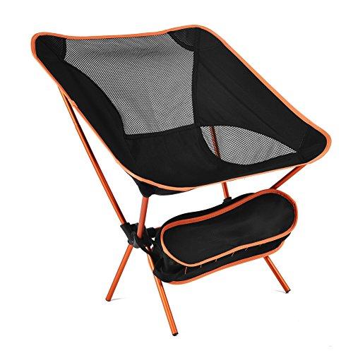 HM&DX Portable Chaises Pliantes exterieures Chaises de Camping Chaise de Plage Pliante Tabouret Heavy Duty Compact avec Sac de Transport Jardin Camping pêche randonnée Picnic -Orange