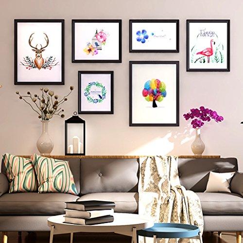 Home @ Wall cadre photo Style rustique solide bois peinture murale salon combinaison européenne décorative peinture mur photo grande taille canapé fond cadre ( Couleur : A )