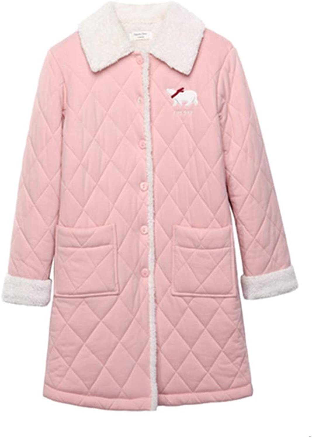 NAN Liang Winter Pajamas, Cotton LongSleeved Lapel Ladies Nightgown, Cartoon Thick ThreeLayer Quilted Home Service bathrobe Soft (Size   L)