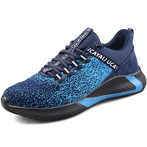 UCAYALI Zapatillas de Seguridad Hombre Calzado de Trabajo Cómodo Zapatos de Seguridad con Punta de Acero Zapatos Protección Deportivos Azul Gr.45