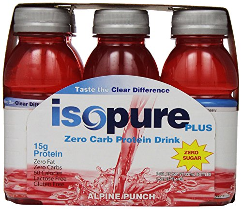 Isopure Plus Zero Carb Protein Drink Alpine Punch, 8 oz. Bottles, 6 count