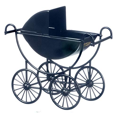 Puppenhaus Miniatur Kinderzimmer Baby Zubehör Schwarzes Metall Kinderwagen