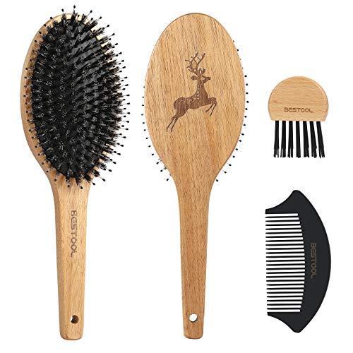BESTOOL Haarbürste, Wildschweinborsten Bürste mit Nylonstiften für Damen Herren Kinder, Holz Haarbürste für alle nassen, trockenen Haare, zur Massieren, Entwirren, Glätt (Geschnitzte Hirsch)