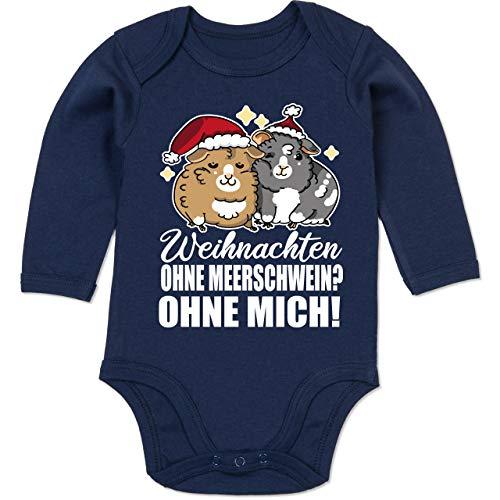 Shirtracer Weihnachten Baby - Weihnachten ohne Meerschwein? Ohne Mich! - weiß - 6/12 Monate - Navy Blau - Meerschweinchen - BZ30 - Baby Body Langarm