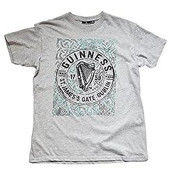 Official Guinness Merchandise Made of 100% Cotton St. James's Gate Dublin Label Celtic Knot Design Round Neck T-Shirt