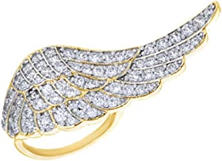 Anello in argento Sterling placcato oro 18 kt con zirconi bianchi