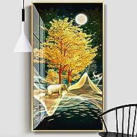 キャンバス絵画ゴールドエレファントアニマルポスターとプリントスカンジナビアの壁の写真リビングルームの通路の家の装飾-60x110cmフレームなし