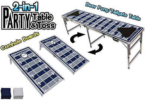 PartyPongTables.com 2-in-1 Dallas Football Field 2-in-1 Cornhole Boards & Beer Pong Tailgate Table - Dallas Football Field Dallas Cowboys Tailgate Table