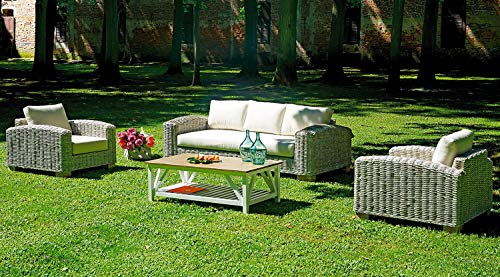 vorghini Set Salotto da Giardino in Grey Kubu Sbiancato Divano 2 Poltrone e Tavolino Varanasi