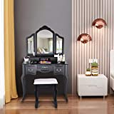 Vanity Set with Tri-Folding Mirror and 5 Drawers, Makeup Dressing Table with Cushioned Wooden Stool for Women Girls Bedroom, Bathroom Vanity Table and Stool Set - Easy Assemble (Black)