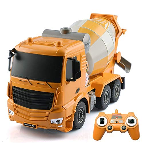 Kikioo Yellow Body Four-Wheel Drive Rc Car Engineering Remote Control Mixer Tanker Sound And Light High Simulation 1:26 Full Effect Construction Toy Best Gift For Boys & Girls 3 Years Old And Up