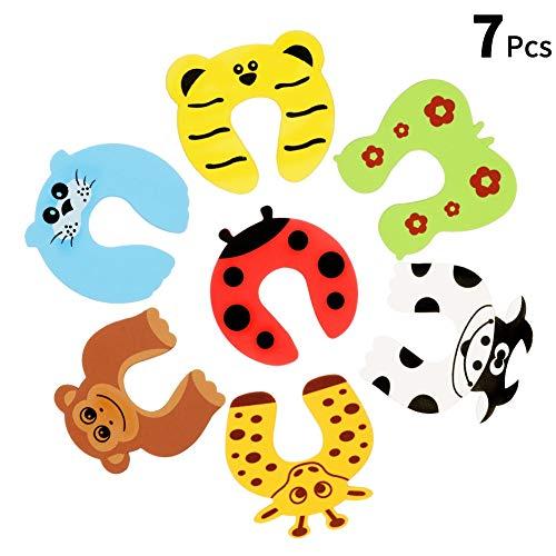 dorisdoll 7 x Türstopper Finger Klemmschutz Cartoon Tier Dickschaum Baby Sicherheit Kindersicherheits Schutz Tür Kissen für Kinder