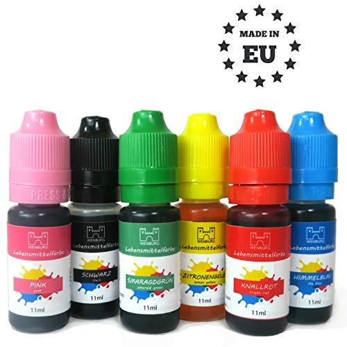 Wenburg Lebensmittelfarbe, 6 x 11ml, hochkonzentriert. Made in EU. Zuckerfrei, flüssig. Farben Set, zum Färben von Teig, Getränken, Aromen, Slime
