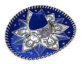 Threads West Mexikanischer Sombrero Mariachi Charro Mütze, mexikanischer Mütze, für Kostümpartys, 5 de Mayo, 16 de Septiembre - Blau - Einheitsgröße