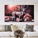 Imágenes de ciervos León desinteresadamente en blanco y negro animales amigos lienzo pintura arte de pared para carteles e impresiones de sala de estar 60x105 CM (sin marco)