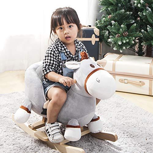 Plüsch Schaukeltier,Kinder Schaukelstuhl, Schaukelpferd Holz, Plüsch Schaukel für Babys und Kleinkinder,Schaukeltier ab 1 Jahr für Jungen und Mädchen kinderschaukel indoor-Esel schaukelpferd