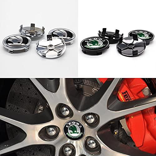 Cubierta del cubo de rueda Piezas de automóviles 4pcs 68mm Cubierta de hub de rueda Centro Etiqueta de ruedas Logotipo de automóvil, adecuado para piezas de modificación personalizadas por Skoda Cubie