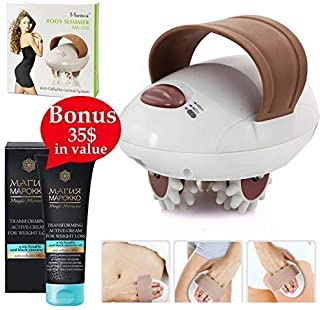 Sculpt Your Dream Body with 3D Electric Handheld Massager Slim Roller Fat Burning Relaxing Anti-Cellulite Facial Sculpting Machine to Lose Weight and Relieve Tension + European Slimming Cream +E-Book