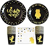 Wild One Birthday Decorations I 96 Pieces - 4 in 1 Wild One Party Supplies I Party Plates I Wildone Napkins I Disposable Cups/Glass I First Birthday Decoration Tableware Supplies