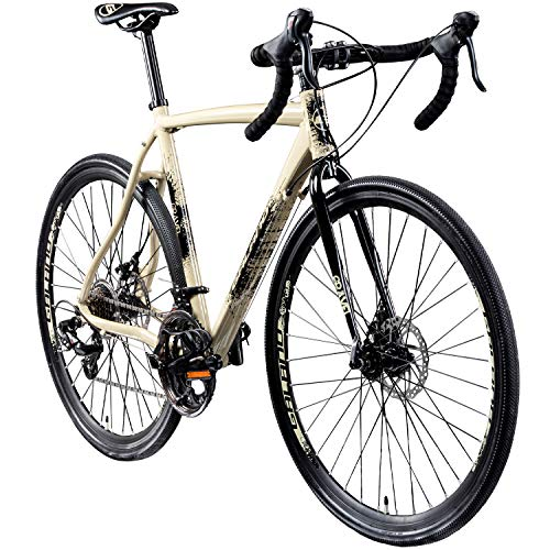 Galano Cyclocross 700c Gravel Bike Cross Fahrrad Rennrad 28' Gravel Trail 14Gang (Creme/anthrazit, 55 cm)