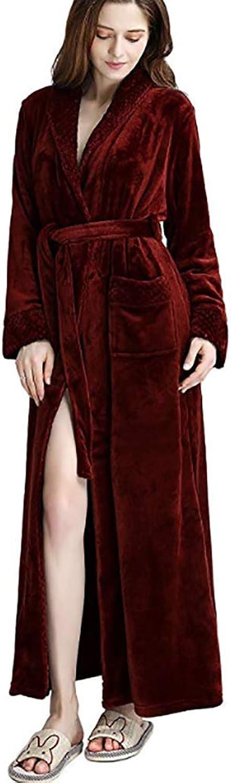 MAGILONA Women Men's Unisex Women's Soft Coral Velvet Bathrobe Winter Sleepwear Thicken Long Nightgown Home Wear