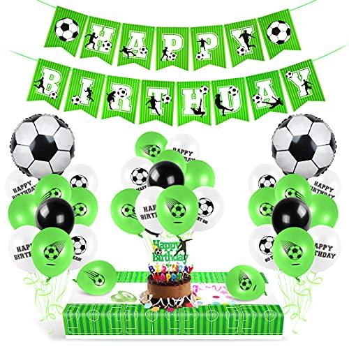 Aurasky Fußball Geburtstag Deko, Luftballon Geburtstag Grün FußballDeko, Geburtstagsdeko Fußball Junge, Geburtstagsballons für den Spieltag, Alles Gute zum Geburtstag und die Fußballw