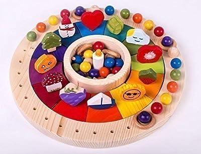 Calendario Madera Waldorf Montessori 33 cm con Figuras. Juego Educativo para Niños de