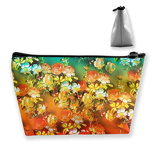 Cosmetic Bag, Unisex Makeup Pouch Small Portable Cosmetic Case Travel Toiletry Bag Accessories Organizer (Orange Flowers)