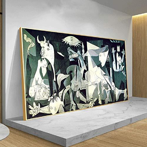 hetingyue Pintor Abstracto Famoso Pintura al óleo Guernica réplica Lienzo Arte Cartel Abstracto modernismo Mural Pintura sin Marco 80X160CM